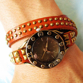Vintage Style Orange Leather Bangle with Bronze Rivet Women Leather Cuff Women Watch  1370A