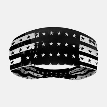 Disrupted Black and White USA Flag Headband