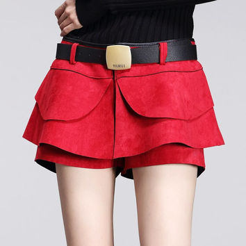 Pleated Solid Suede Shorts