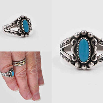 Vintage Navajo Sterling Silver Turquoise Ring, Blue, Stamped, Native American, Child, Small, Size 3 1/4, Midi, Pinky, Nice! #c299