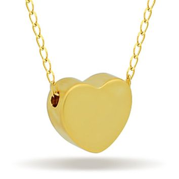 Tiny Heart Necklace, 14K Gold Plated Floating Heart Necklace, Simple Heart Necklace