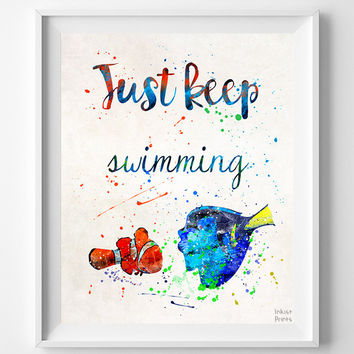 Nemo Quote Print, Finding Nemo, Type 2, Poster, Disney Poster, Disney Print, Watercolor Art, Illustration Art, Kid Room, Mothers Day Gift