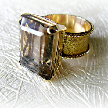 Smokey Quartz 14K Gold Ring Emerald Cut Stone Wide Band
