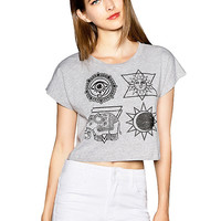 Gray Galaxy Elephant Totem Print Short Sleeve Cropped Top