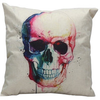 1 Pc Colorful Skull Square Linen Pillow Case Vintage Bed Car Sofa Cushion Cover Home Decor