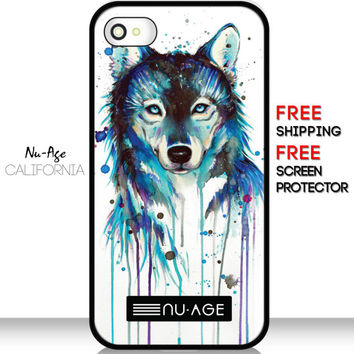 Animal Art Wolf Cell IPhone 4S Case Hipster IPhone 5C Cell Phone Case Unique Colorful Design Crazy Colorful Phone Cover Wolf IPhone 4S Case