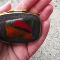Rectangle Push Button Pill Box, Fused Glass Pill Box, Trinket Box, Rectangle Glass Pill Box