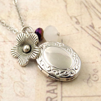 Small Oval Locket with Flower Charm and Crystal accent
