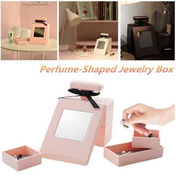 Unique Perfume Bottles Shaped Jewelry Box with Toilet Glass Drawer Combination Mini Storage Box Women Romantic Accessories