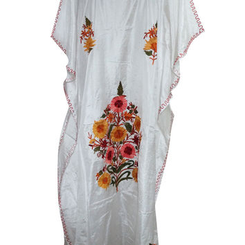 Boho Silk Kaftan Kashmiri Embroidered White Caftan Kimono Dress Xxxl