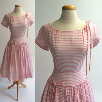 1950s Pat Premo California Party Dress, Pink and White Striped Valentine's Day Dress, Garden Party Pat Premo Dress,Pleated  Circle Skirt Bow