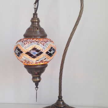 Kilim Design Swan Neck  Mosaic Lamp With Vintage Look Bronze Plated Base, Bedside night lamp, Turkish night lamp, Night Decoration, Lighting