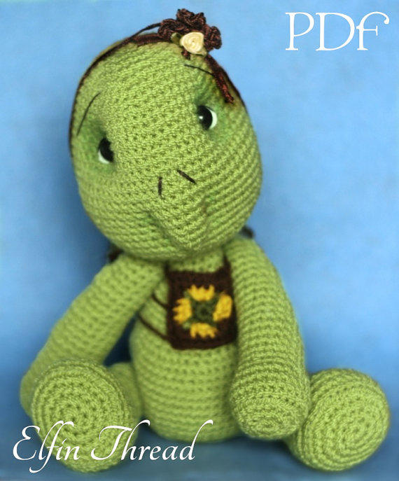 Crochet Patterns Turtle : Elfin Thread - Turtle Crochet Amigurumi from ElfinThread on Etsy