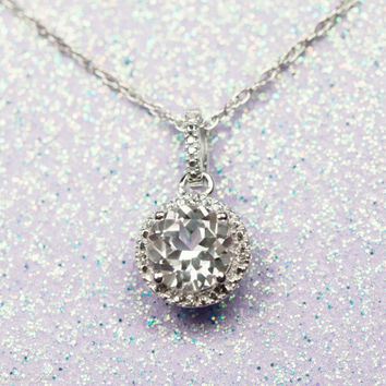 "Sterling Silver Created White Sapphire & .01 CTW Diamond Halo Pendant 18"" Necklace"