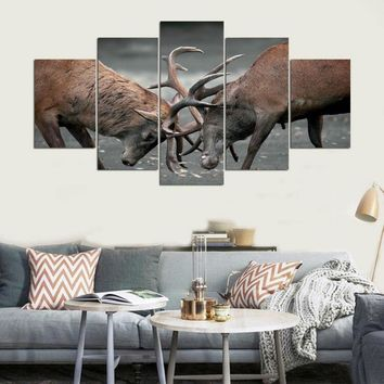 Deer Locked Antlers Fight Canvas