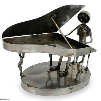 Collectible Mexican Recycled Metal Sculpture Ecology Art - Rustic Concert Pianist | NOVICA