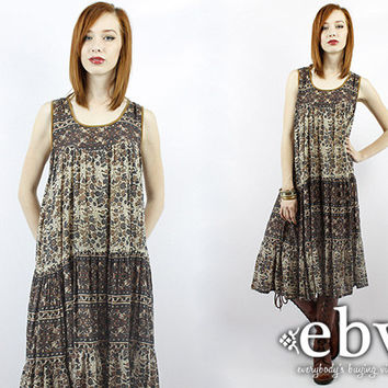 731f521f2b1 Vintage 70s Indian Cotton Hippie Boho Festival Dress S M L Vinta