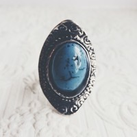 Silver Turquoise Adjustable Stone Ring