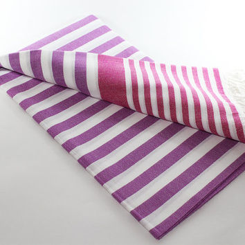 Purple Beach Towel | Fuchsia | Peshtemal Towel | Turkish Beach towel | Sarong | Purple Turkish Towel | Beach Towel | Purple Beach Towel