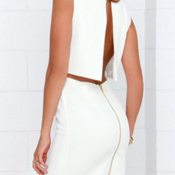 White Sleeveless Split Back Bodycon Dress