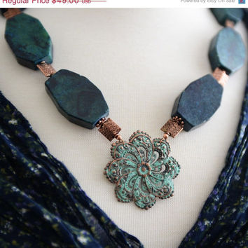 SALE Chunky Geometric Jasper Gemstone Nugget and Verdigris Copper Filigree Handmade Statement Necklace Green Blue