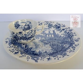 RARE Royal Staffordshire Peaceful Summer Waterfall Blue Toile Transferware Tea N Toast Cup & Plate Set