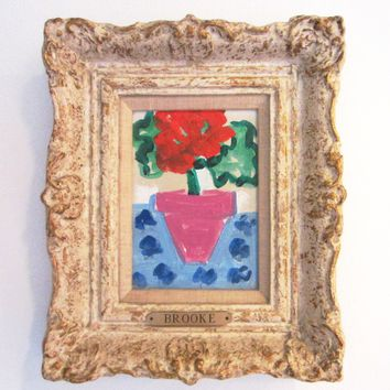 Still Life Oil On Canvas Red Flower In Lavender Pot Brass Name Plate BROOKE