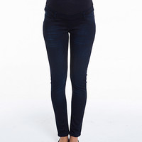 Navy Over-Belly Maternity Skinny Jeans