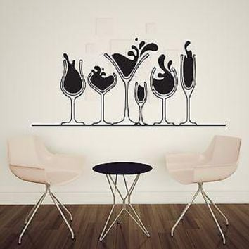 Wall Sticker Vinyl Decal Various glasses of alcohol martini wine whiskey Unique Gift (n280)
