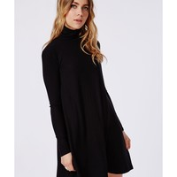 Missguided - Ribbed Swing Dress Black