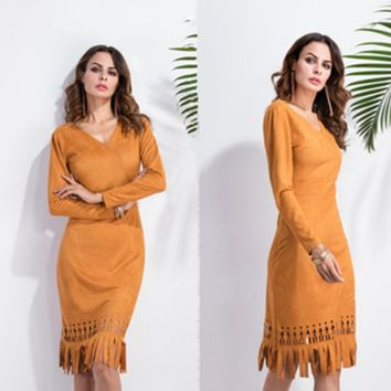 Yellow V-neck Slim fringed dress B0016351