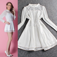 Sheer Mesh Keyhole Long Sleeve  Tiered Lace Chiffon Mini Dress