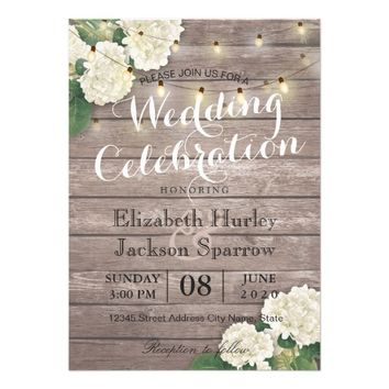 Rustic Wood Floral String Light Wedding Invitation