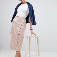 ASOS WHITE Check Skirt at asos.com