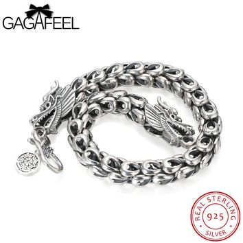 GAGAFEEL Men Jewelry Punk Sterling Silver Bracelet Thai Silver Bangle Watch Domineering Dragon Scales Chain Bangles S Clasp