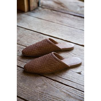 Litha Woven Slide on Flat, Toffee | Band of Gypsies