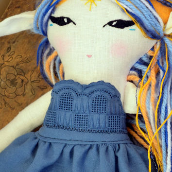 Blue Moon Fairy- OOAK cloth doll; Ready-to-ship; fantasy doll, cloth doll, rag doll, fairy doll, pixie doll. elf doll, fairytale