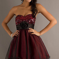 Short Strapless A-Line Tulle Dress