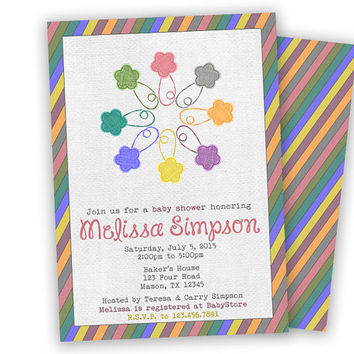 Safety Pin Baby Shower Invitation - Spring Flowers Baby Shower - Pastel Rainbow Baby Shower Invitations - Girl Baby Shower Flower Pins
