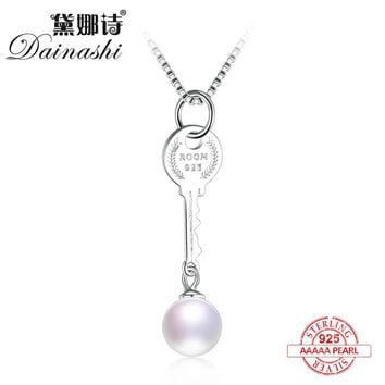 Dainashi vogue key shape 925 sterling silver real natural pearl pendants with chain fine jewelry lock your love fine jewelry