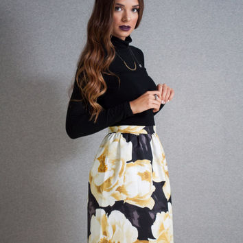 Tulip Skirt, floral skirt, black floral skirt, high waist skirt, cotton skirt, yellow details skirt