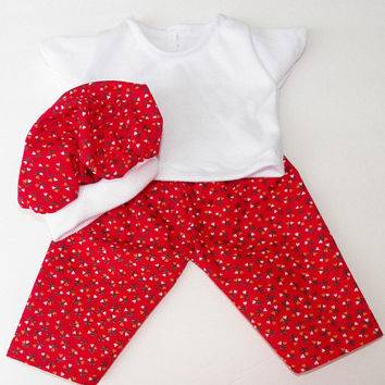 """bitty baby clothes, doll, girl, or 15"""" twin, heart, valentines day, red, white, pants, t shirt, tam, hat, handmade adorabledolldesigns, 3 pc"""
