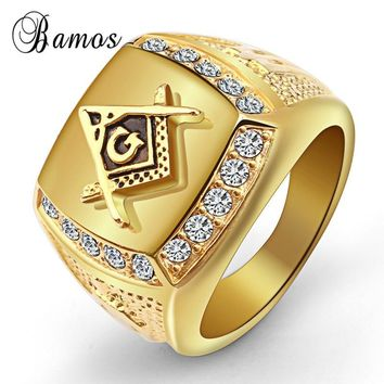 Bamos Luxury Freemason Zircon Finger Ring Gold Color Stainless Steel Big Rings For Men Vintage Punk Masonic Jewelry Best Gift
