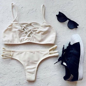 Brianna White Criss Cross Cut Out Cheeky Brazilian Bikini Set