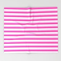 Pink Stripes Throw Blanket by SimpleChic