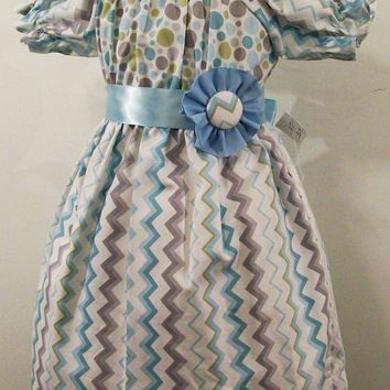 Baby Girls Peasant Dress-Blue Gray Pastel Chevron--#189-