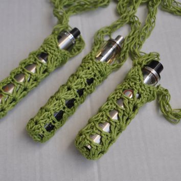 Handmade Lacy Electronic Cigarette Holder Durable Cotton - Green