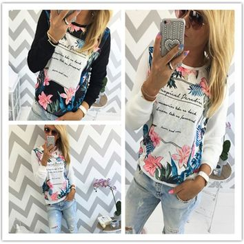 Women's Fashion Print Round-neck Long Sleeve T-shirts [11055903495]