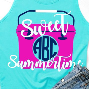 Sweet Summertime svg,cooler svg,monogram svg,camping svg,beach svg,beach cooler svg,southern svg,yeti svg,summer svg,lake svg,summertime svg