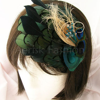 Derby feather fascinator - Peacock feather on Iridescent green feather applique -  AVERIE design  - Choose headband, comb, or hair clip